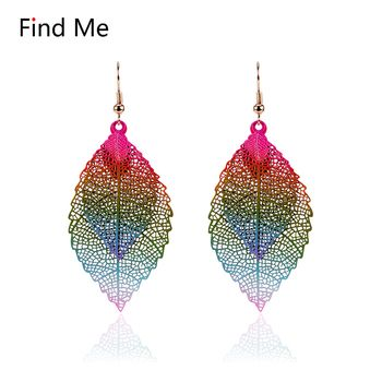 Find Me 2019 fashion Luxury boho Double color Leaf Dangle earrings Vintage Leaves long tassels drop Earring for women Jewelry