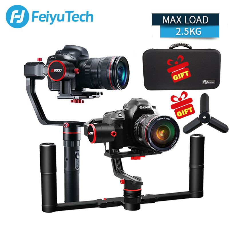 FeiyuTech FEIYU a2000 3 Axis Gimbal DSLR Camera Stabilizer Dual Single Handheld Grip for Canon 5D SONY Nikon 2500g Payload
