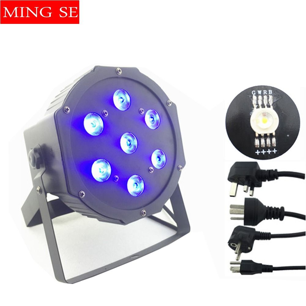 Fast shipping 7x12w led Par lights <font><b>RGBW</b></font> 4in1 flat par led dmx512 disco lights professional stage dj equipment