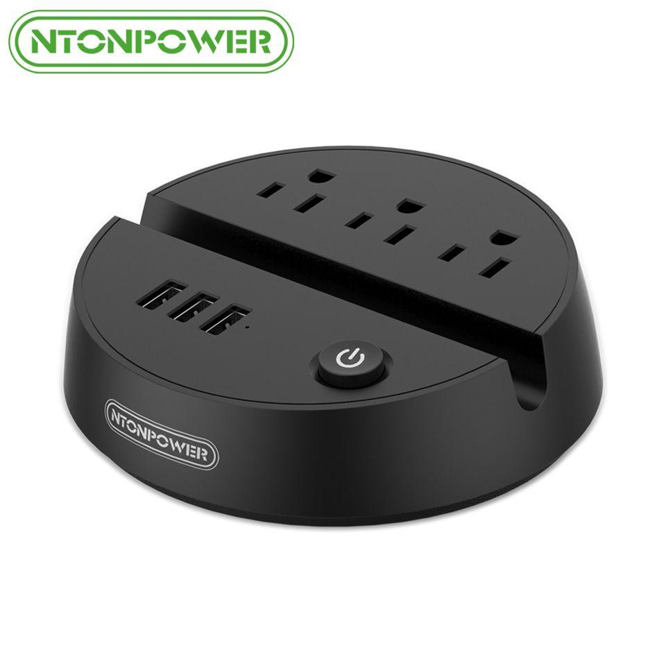 NTONPOWER ODY Portable USB rallonge de voyage US prise électrique 3 prises AC 3 Port de charge USB avec support pour téléphone
