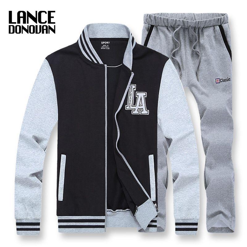 Бейсбол куртка и Треники L-8XL спортивный костюм Для мужчин комплект Костюмы Англия Стиль