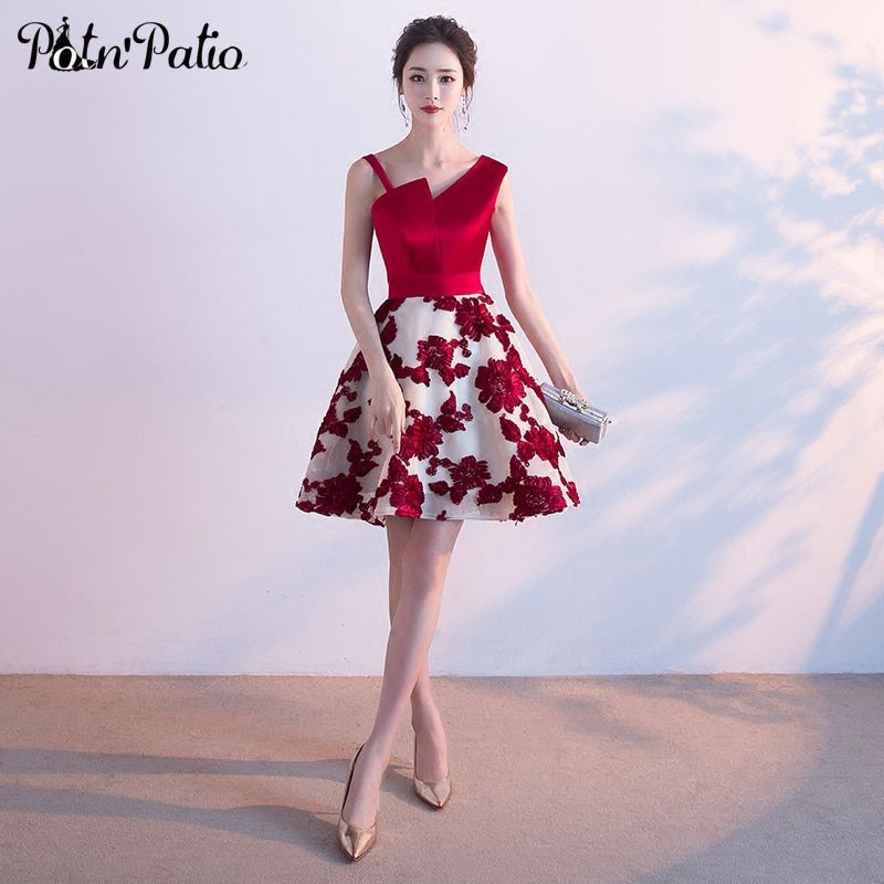 PotN'Patio One Shoulder Homecoming Dresses 2017 New Arrival Wine Red Satin Lace Prom Dresses Short