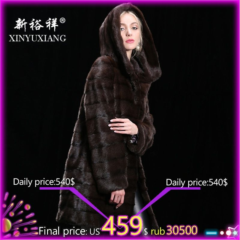 Customizable Real mink fur winter coat for women Hood Long thick warm fur coat Natural fur Genuine Leather Real fur coat women