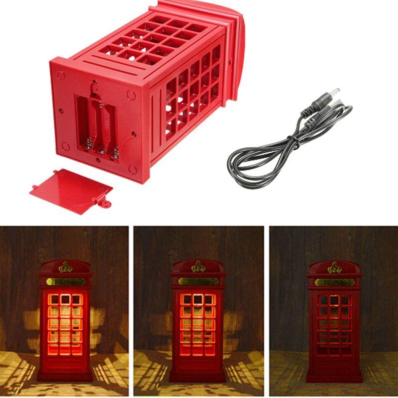 Vente économie d'énergie rétro londres cabine téléphonique veilleuse USB batterie double usage LED lampe de chevet
