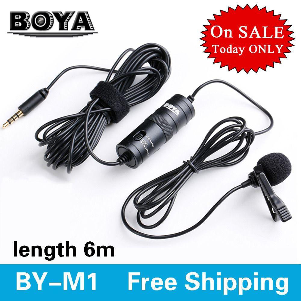 BOYA BY-M1 omnidirectionnel caméra Lavalier condensateur diffusion Microphone professionnel pour Canon DSLR caméscope iPhone 8 10 7 6