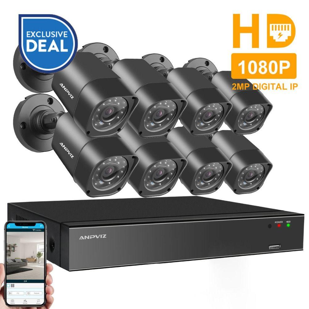Anpviz 8CH 1080P HDMI POE NVR Kit CCTV Camera System 2MP Outdoor Security IP Camera P2P Video Surveillance System Set HDD Option
