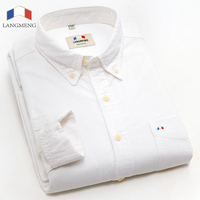 Langmeng 2017 New 100% Cotton Men Long Sleeve Slim Fit Business Dress Shirts Men Stylish Fashion Casual Shirt Camisa Masculina