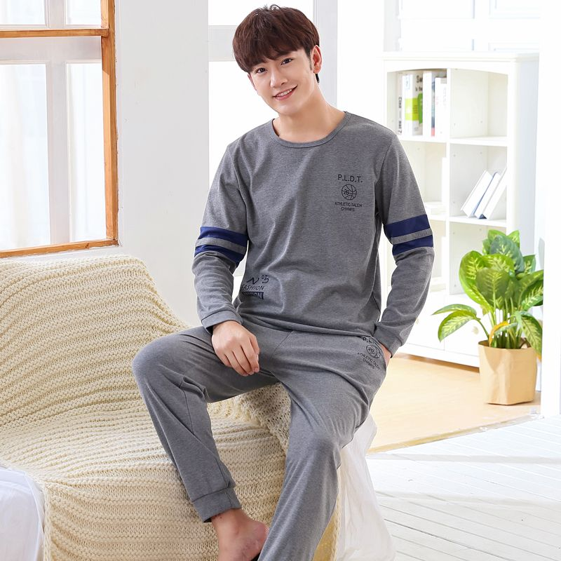 New Arrivals 2017 Men Pajamas Long-sleeved Autumn Winter Male Pajama Set Men Pure Full Cotton Pajamas For Men Set Sleepwear Suit