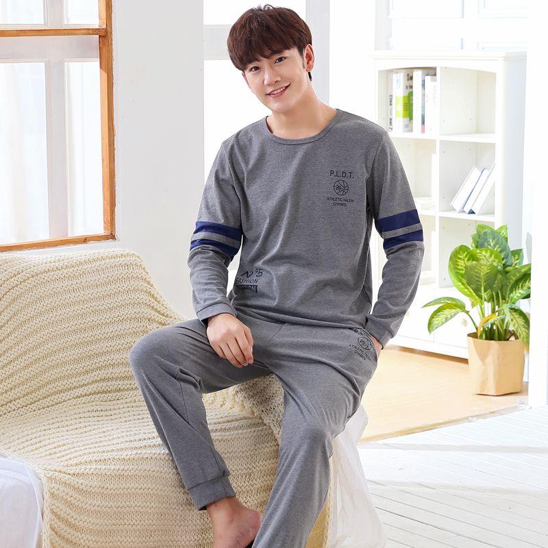 Nueva WAVMIT 2017 Hombres Pijamas Pijama de manga larga Otoño Invierno Masculina Hombres conjunto Puro Pijama de Algodón Para Hombres ropa de Dormir Conjunto Completo traje