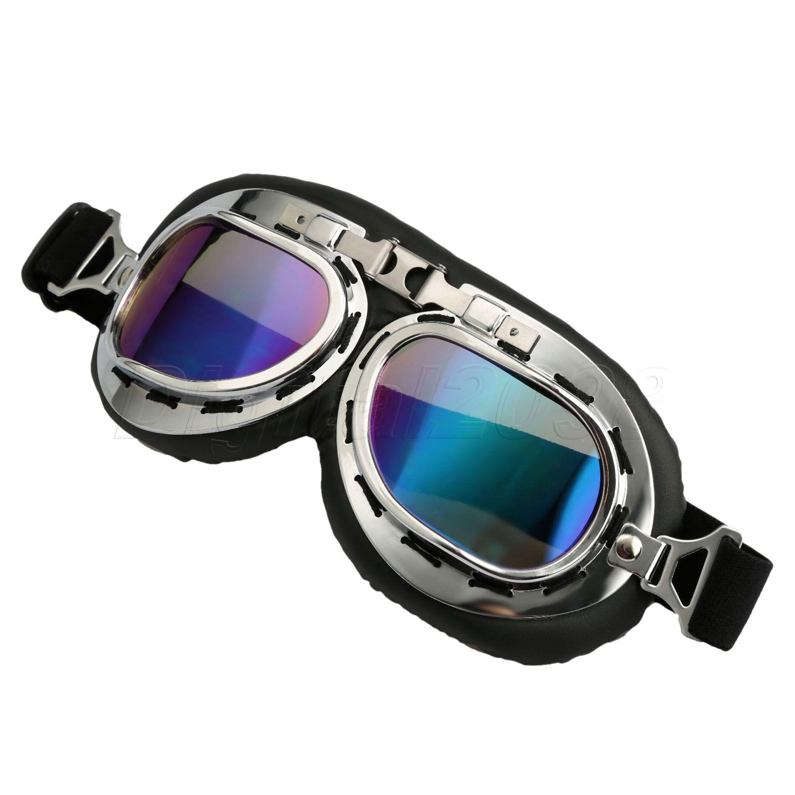 Yetaha lunettes de moto pilote Vintage WWII RAF aviateur lunettes de Motocross ATV Dirt Biker Cruiser lentille fumée