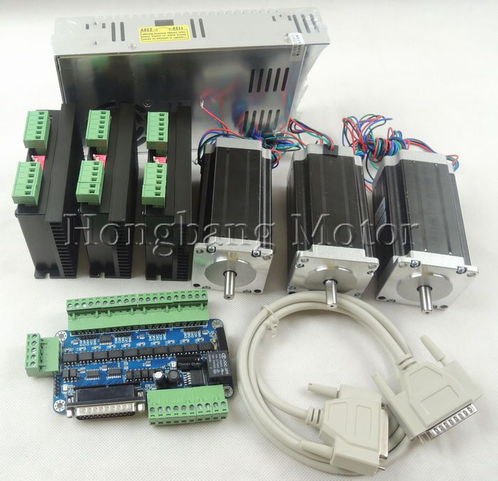 CNC Router 3 Axis kit, 3pcs TB6600 stepper motor driver +one breakout board + 3pcs Nema23 425 Oz-in motor + power supply#ST-4045