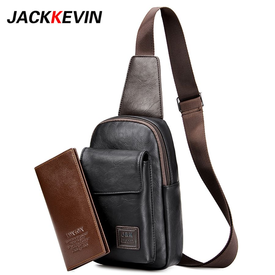 Men's Fashion Retro PU Foot <font><b>Leisure</b></font> Travel Bag Shoulder Messenger Bag Waterproof Wear Chest Harness Chest Pocket