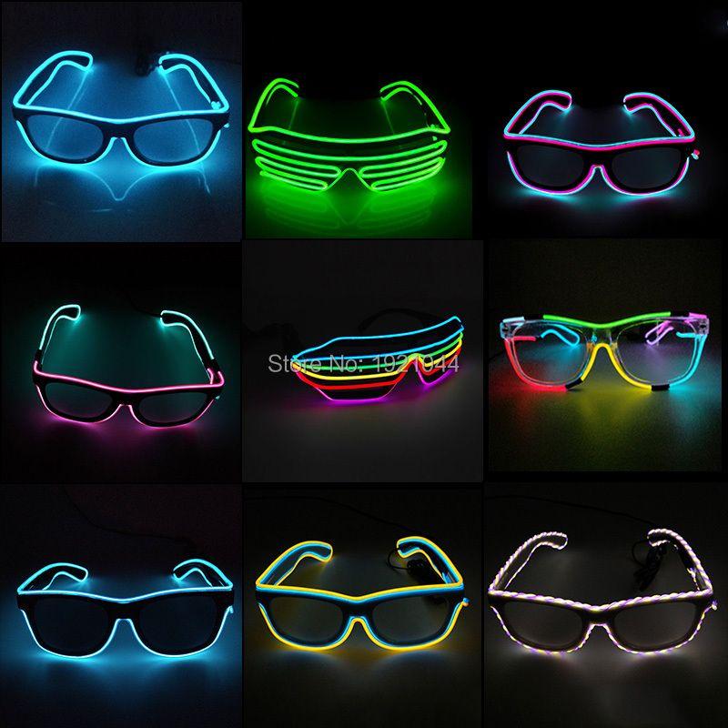 Double Couleurs Son Activé EL fil Led Lunettes Éclairage Coloré Rougeoyant Lumineux Lunettes lunettes Pour la Décoration de Partie Cadeaux