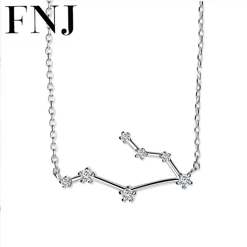 FNJ Twelve Constellations Pendant Necklace 925 Silver sagittarius capricorn Sagittarius cancer pisces 40-45cm Chain Cubic Zircon