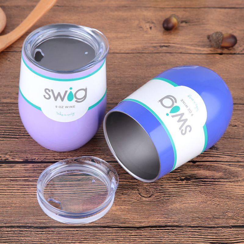 Hot sales! 9oz Egg Shapped Mug Swig Wine Cups Stainless steel Swig Tumbler Insulated thermos Cup Travel Coffee Mug Swig Beer Mug