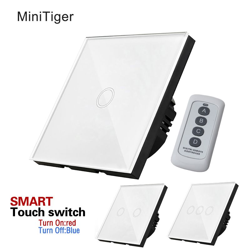 minitiger EU remote Touch Switch,Luxury White Crystal Glass 1 Gang/2Gang/3Gang One-way Touch Screen Wall Light Switch,170~250V
