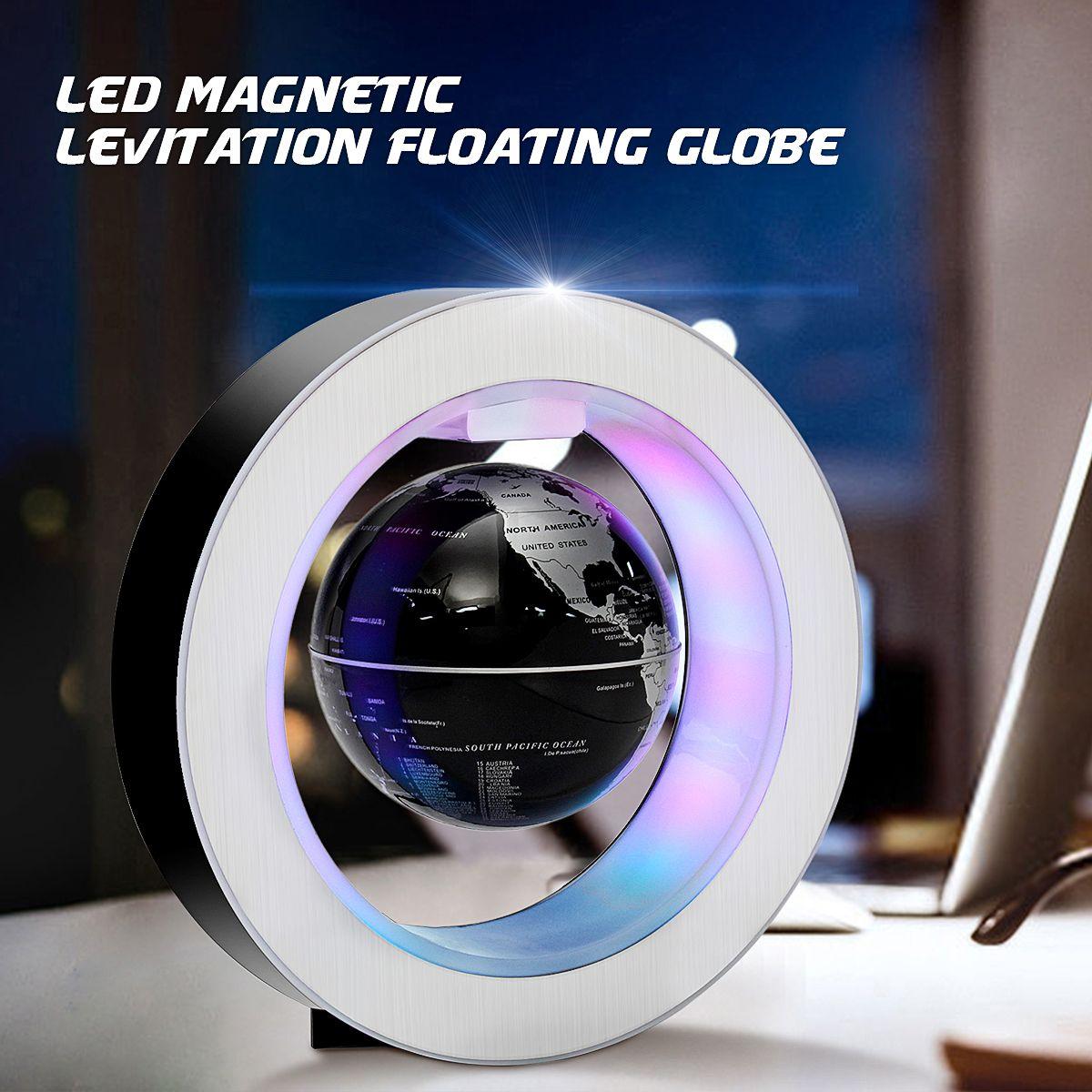 Geography World Globe Magnetic Floating Globe LED Light Levitating Rotating Tellurion World Map School Office Supply Home Decor