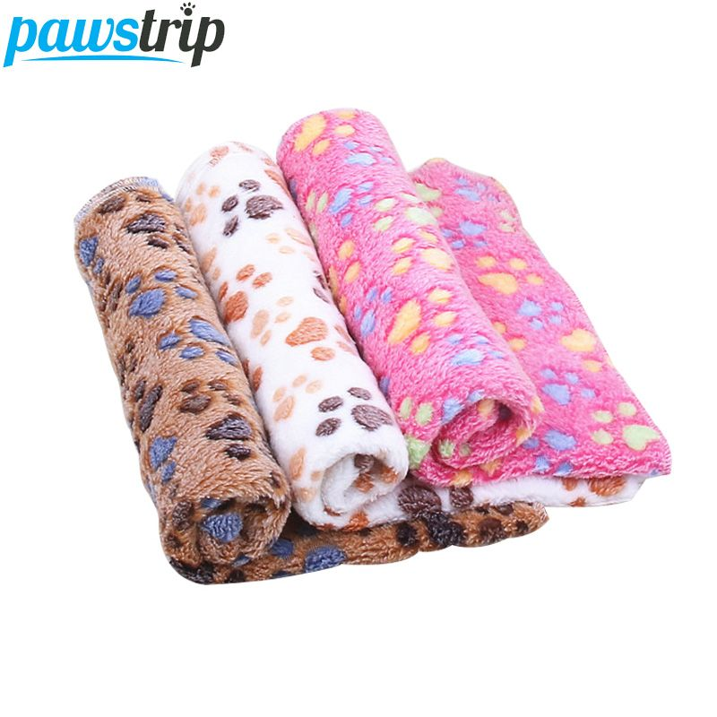 pawstrip Soft Coral Fleece Pet Dog Blanket Winter Small Dog Beds Paw Print Sleeping Warm Cat Bed