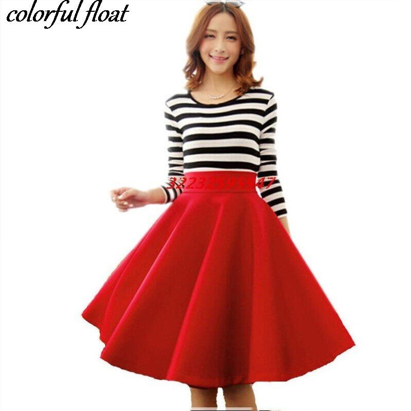 Paige Skirts Space cotton Autumn Winter Grown Place <font><b>Umbrella</b></font> Skirt Retro Waisted Body Skirt New Europe And The Code Word Pleated