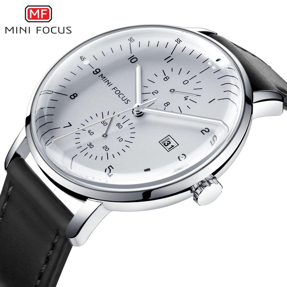 MINI FOCUS montres hommes Top marque montre à Quartz de luxe hommes calendrier d'affaires en cuir relogio masculino étanche reloj hombre