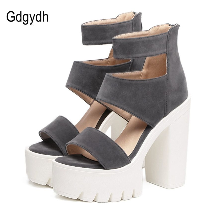 Gdgydh Fashion Summer Shoes Gladiator Women Sandals Casual Cut-outs Open Toe Thick Heels 13cm Female Gladiator Shoes High Heels