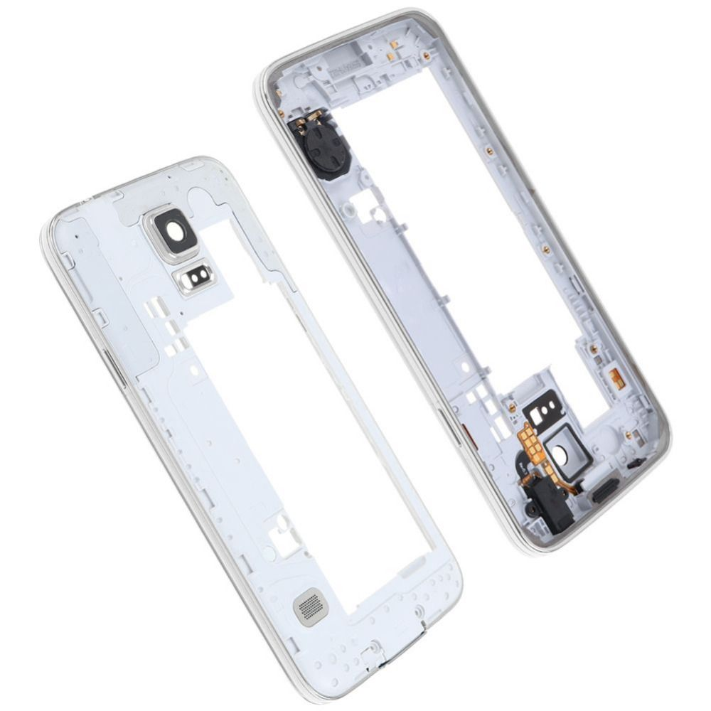 10pcs/lot Original Middle Plate Frame Bezel + Side Button Housing Chassis For Samsung Galaxy S5 G900F USB Dust Plug Small Parts
