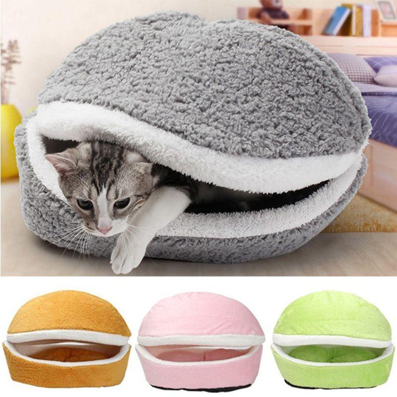 Sac de couchage amovible pour chats canapés tapis Hamburger pour chien maison courte en peluche lit de chatons qui explosent chaud chiot niche nid animaux produits