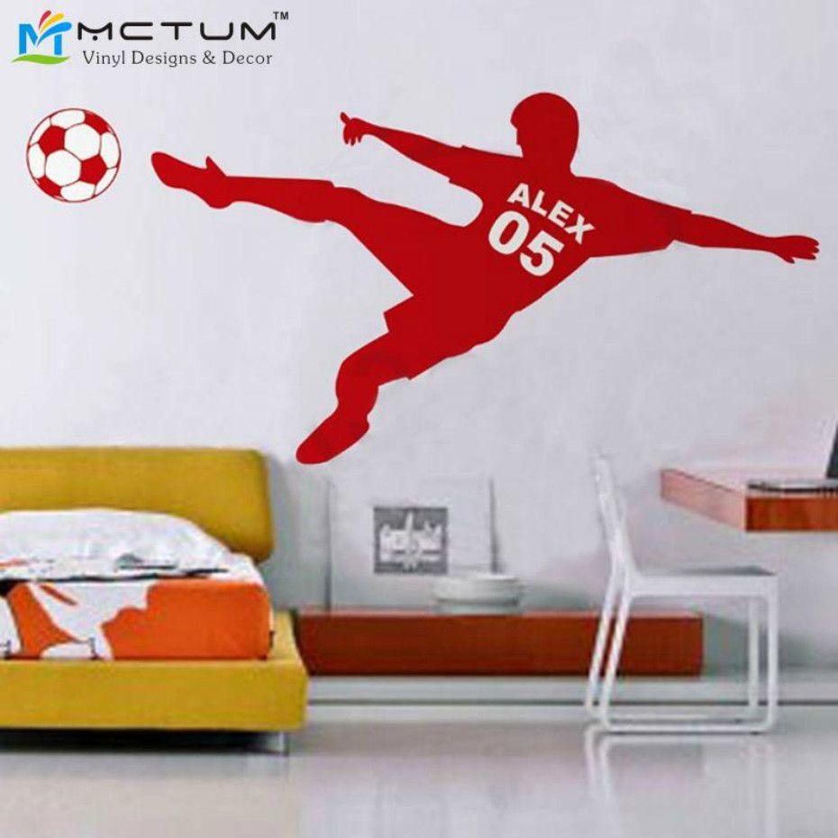 Football Wall Sticker Personnalisé Nom et Nombre Ballon De Football Affiche Vinyle PVC Sticker Art Enfants Stickers Muraux Enfants Chambre Décor