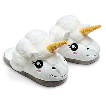 JUFOYU 2017 Unisex Unicorn Cotton Home Slippers Spring Warm Chausson Licorne Indoor Cartoon Slippers Shoes For Teen Boys Girls