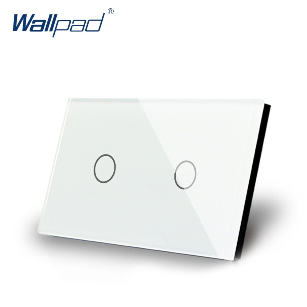 2 Gang 2 Way US/AU Standard Wallpad Touch Screen Light Switch Black Crystal Glass Touch Double Control Panel with LED Indicator