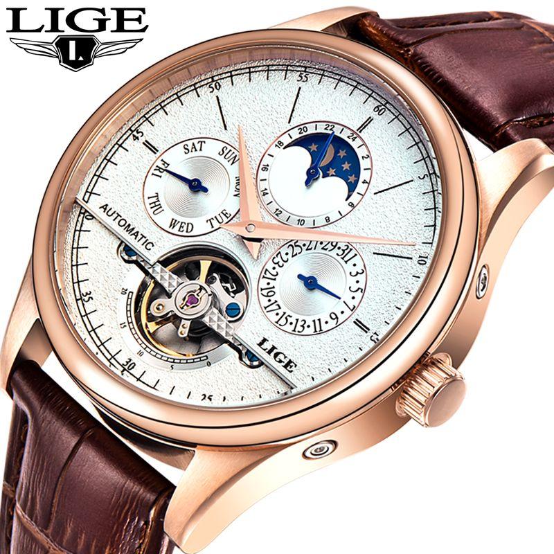 LIGE Men watches Automatic Mechanical Watch Tourbillon Sport Clock Leather Casual Fashion Retro Style Wristwatch Relojes Hombre