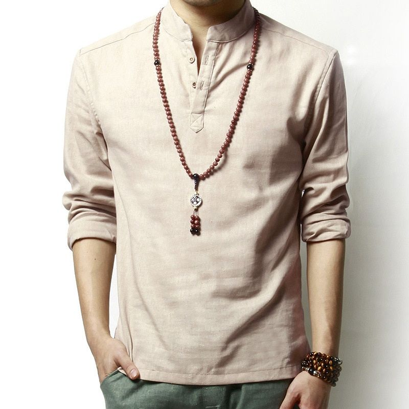 Été lin et coton sain matériel chemise décontracté hommes respirant chemise à manches longues solide lâche loisirs chemises marque de mode