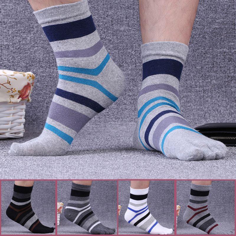 Mann Baumwolle Zehensocken Gestreifte Kontrast Bunte Patchwork Männer Fünf Finger Socken Marke