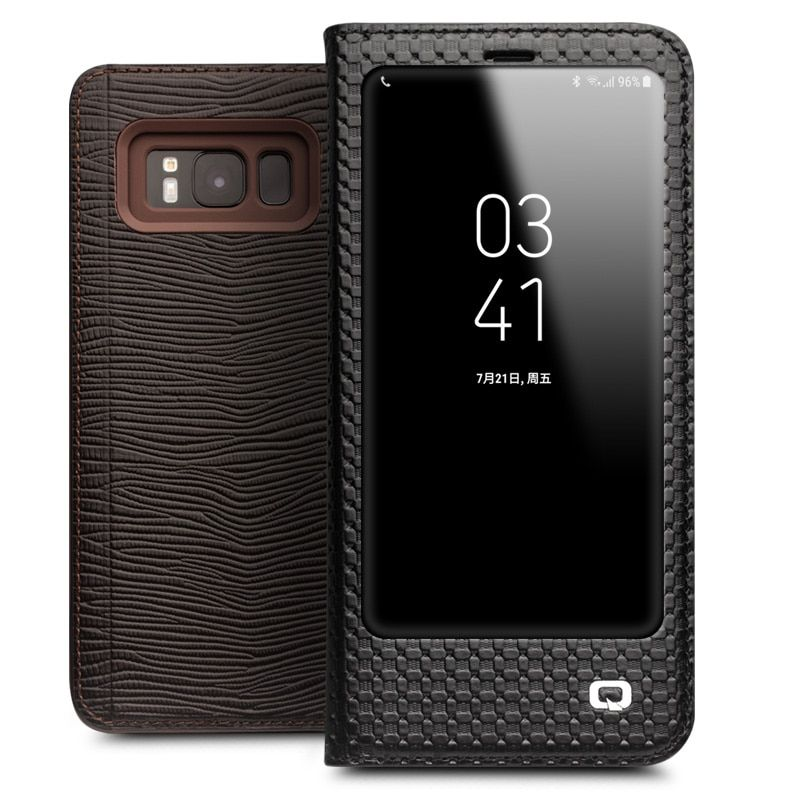QIALINO for Samsung Galaxy S8 Cases Smart View Flip Genuine Leather Window Cover for Samsung S8 Case Sleep Wake Up Function