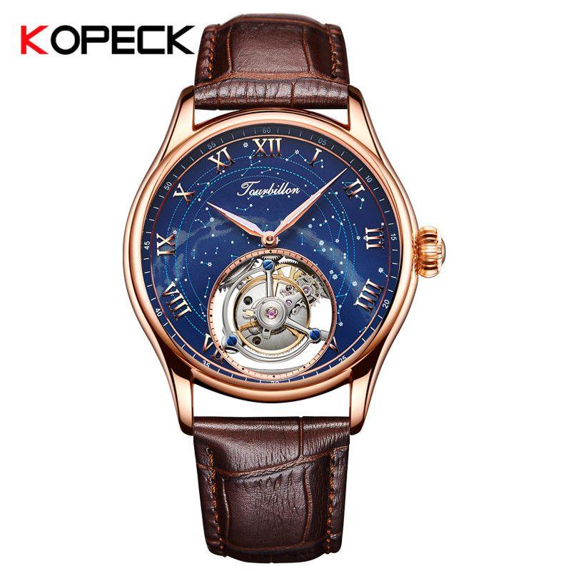 Luxury Business männer Mechanische Uhren Sapphire Kristall Spiegel Tourbillon Hohl Bewegung Männlichen Uhr Mann Uhr Echtes Leder