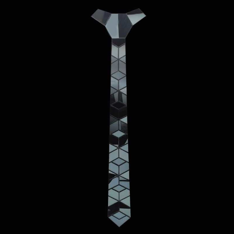 New Arrival Diamante Sol Style Little Diamond Shape Titanium Black Mirror Acrylic Fashion Necktie Tie