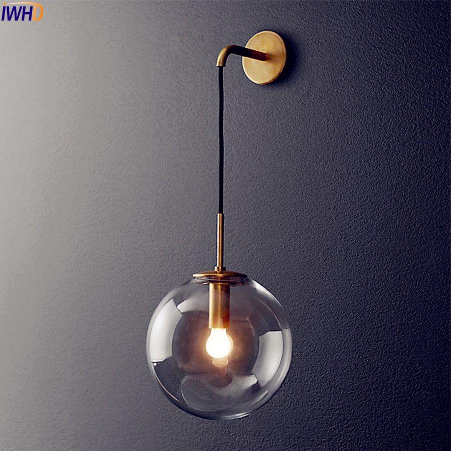 Lampe de mur LED moderne nordique boule de verre miroir de salle de bain à côté de l'applique Murale rétro américaine