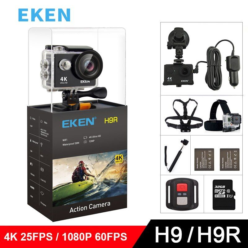 EKEN H9 H9R Original Action camera Ultra FHD 4K 25fps 1080P <font><b>60fps</b></font> WiFi 2.0 170D mini go underwater waterproof Helmet Sport cam
