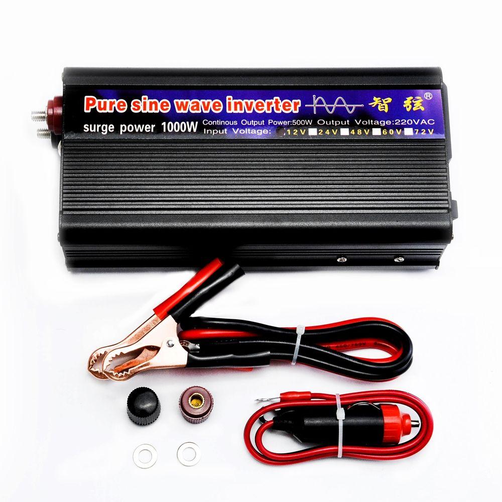 Crête 1000 W Onde sinusoïdale Pure Onduleur DC 12 V/24 V à AC220V 50 HZ HORS Réseau Onduleur pour Système Solaire Usine Prix Bon qualité