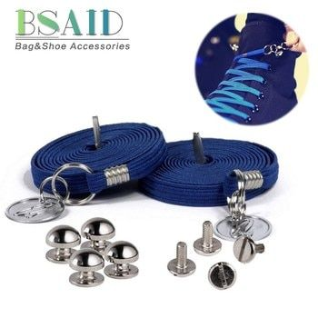 BSAID Child No Tie Shoelaces For Kids Casual Shoes Boy Girl Fashion Shoelaces With Metal Circle Decor Lazy Sneaker Shoe Laces
