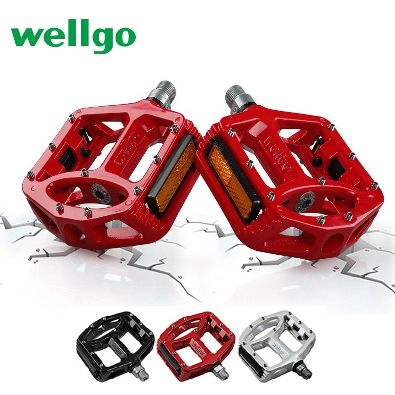 Wellgo MTB Pedals 2 Sealed Bearings Bicycle Pedals for bmx Road Mountain Bike Pedals Wide Magnesium Alloy Cycling Pedals MG-1