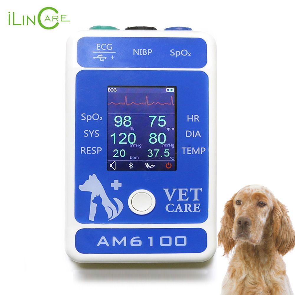 Ilincare AM6100 Tier Krankenhaus Medizinische EKG Temperatur SPO2 Bluetooth Veterinär Ausrüstung Tier Handheld Patienten Monitor
