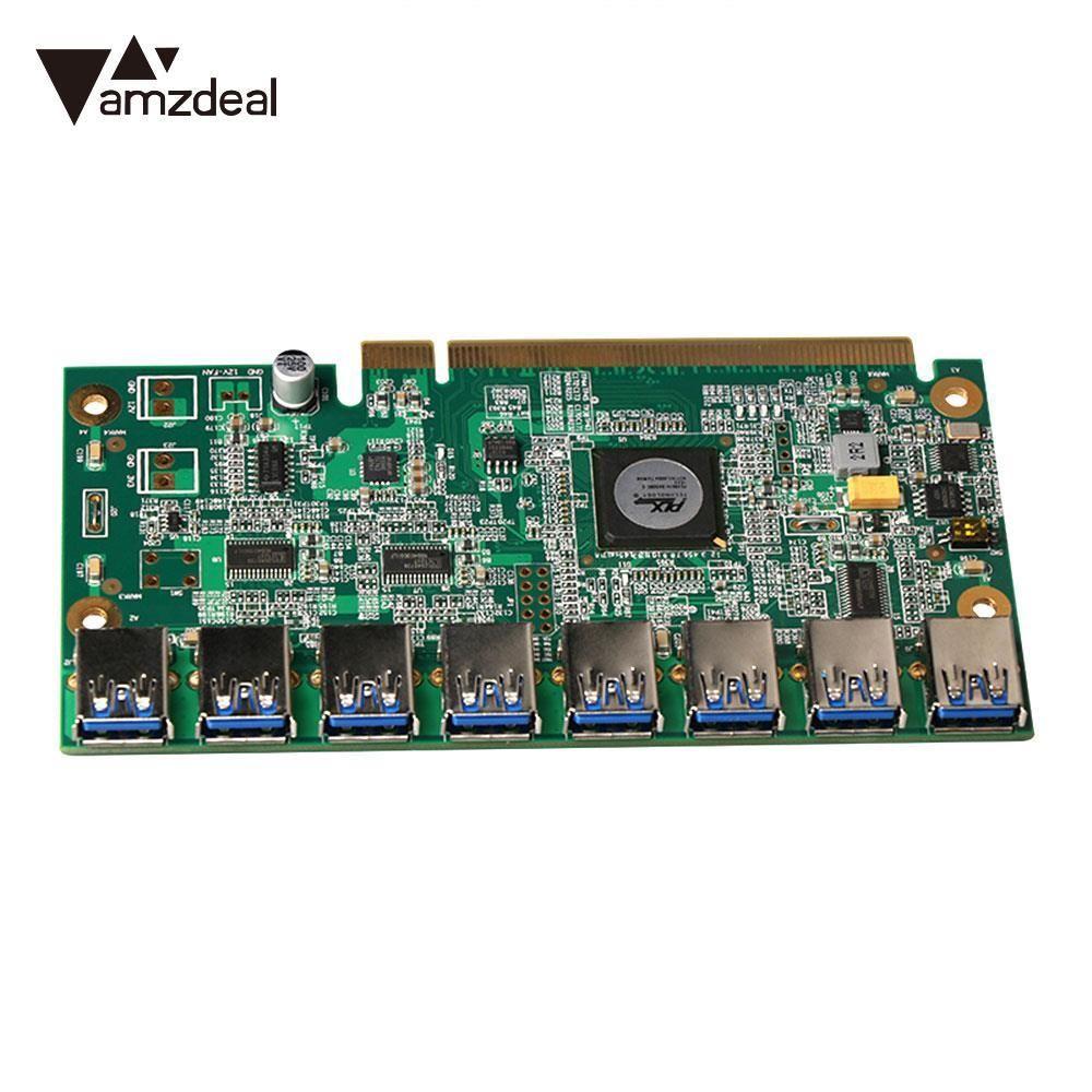AMZDEAL 1 to 8 PCIe Miner Machine Graphics Card Extension Cord PCI-E 16X To 8 Ports USB3.0 PCI-E Riser Card for BTC LTC ETH
