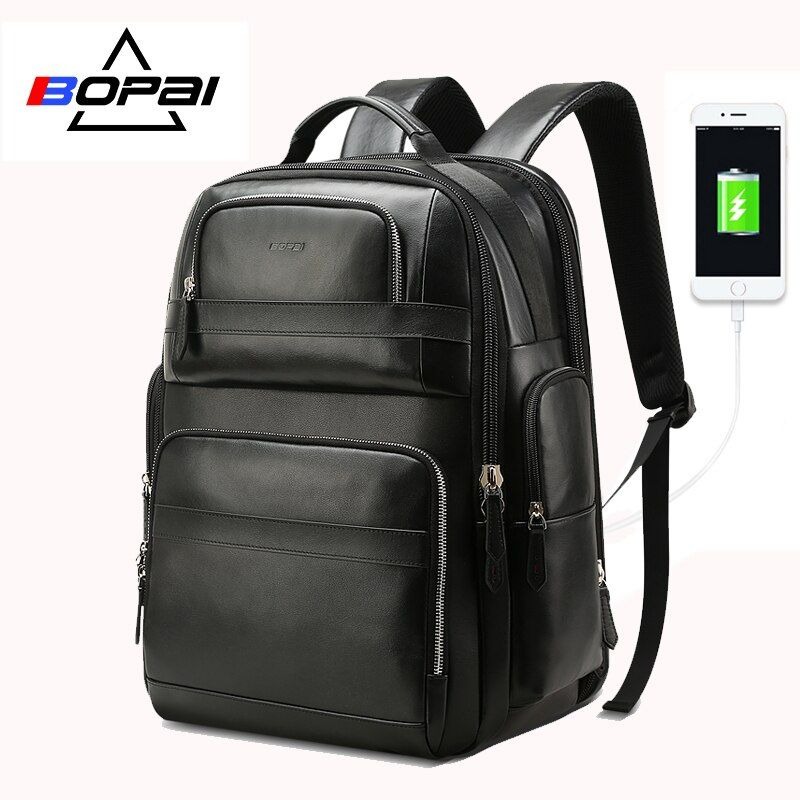 BOPAI Genuine Leather Backpack Multifunction USB Charge Anti theft Laptop Bag 15.6 inch Mens Laptop Backpack Travel Backpack