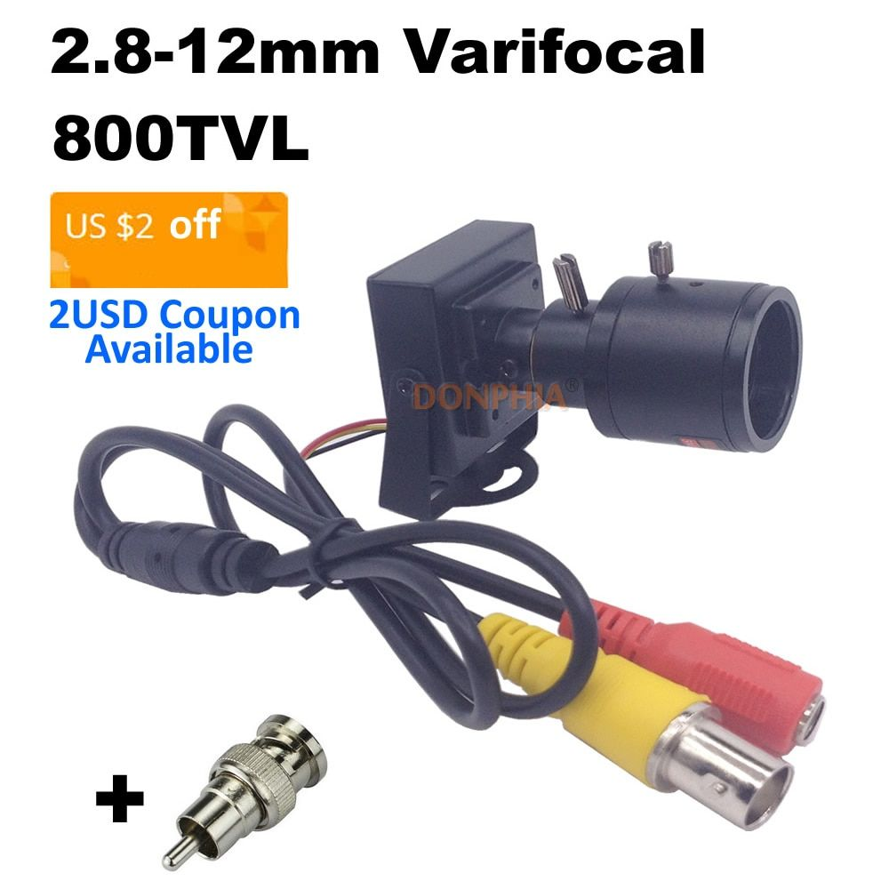 800tvl Varifocal Lens Mini Camera 2.8-12mm Adjustable Lens+RCA Adapter Security Surveillance CCTV Camera Car Overtaking Camera