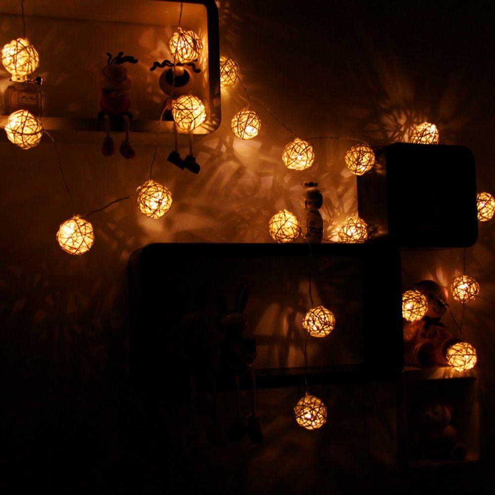 1,5 Mt 10 LED Rattan Kugel LED String Licht Fee Urlaub Lichter für Party Weihnachten Hochzeit Dekoration Batteriebetriebenes
