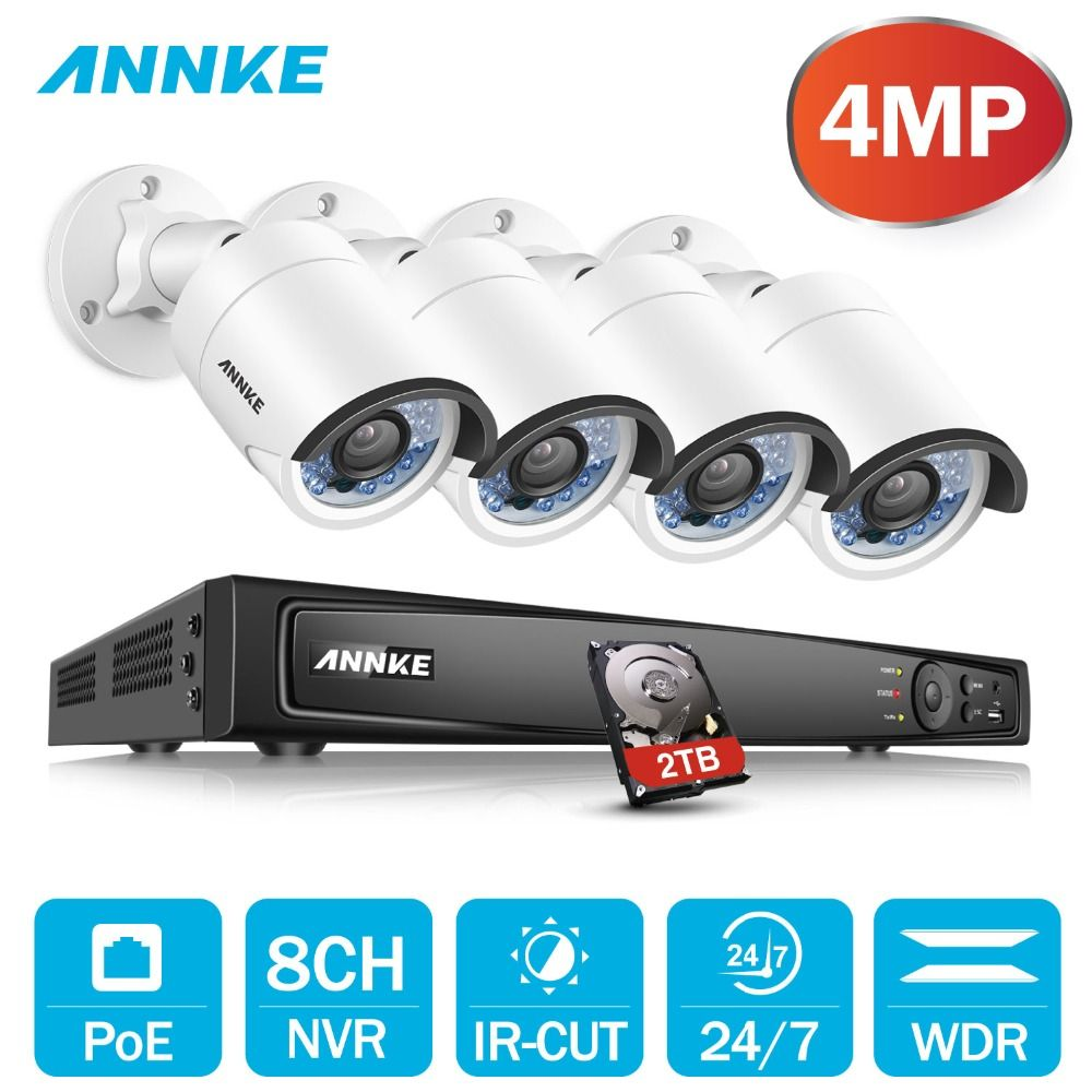 ANNKE 8CH 6MP POE H.264+ NVR Security System 4pcs 4mm 4MP Weatherproof Outdoor Infrared Night Vision Camera P2P Onvif WDR 3D DNR