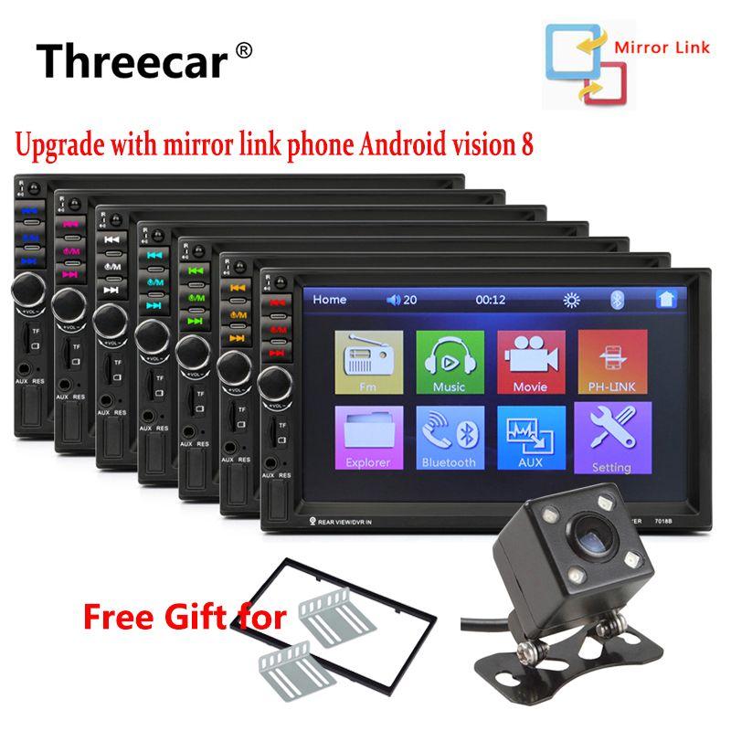 7018B Mirror Car audio 7'' 2 DIN car DVD Player autoradio Stereo Touch Screen auto Radio MP5 Player Bluetooth TF USB FM camera