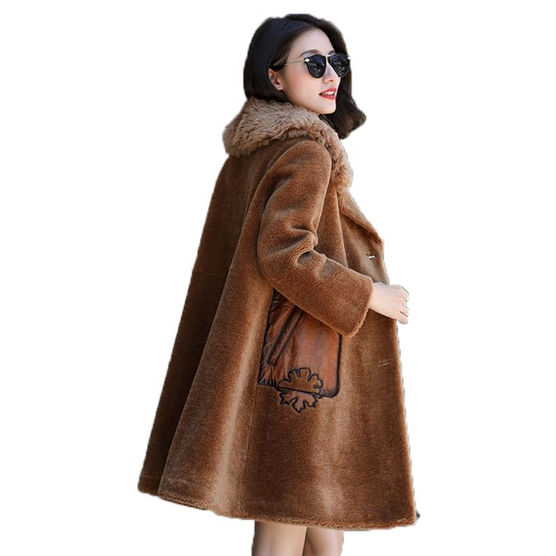 Sheep Shearling Fur Winter Jacket Women Clothes 2018 Wool Jacket Lamb Fur Collar Korean Elegant Suede Lining Long Coat ZT642