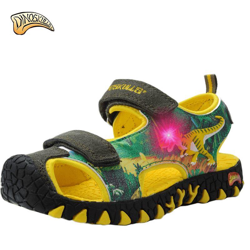 2017 Обувь для мальчиков динозавров светящиеся сандалии Обувь для мальчиков кроссовки Детская обувь светодиодной подсветкой Infantil Обувь Для ...